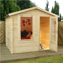 2.50m x 2.00m Value Log Cabin + Free Floor & Felt & Safety Glass  (19mm Tongue and Groove)