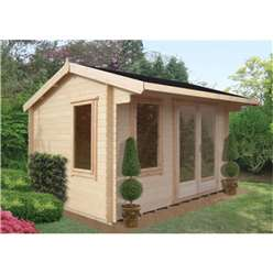 4.19m x 3.59m  Superior Reverse Apex Log Cabin - 28mm Tongue and Groove Logs