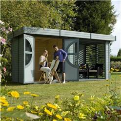 4.8m x 2.4m Connor Painted Nantwich Log Cabin (19mm Tongue & Groove)