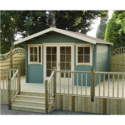 3.69m x 2.99m Superior Home Office Log Cabin + Double Doors - 28mm Tongue and Groove Logs