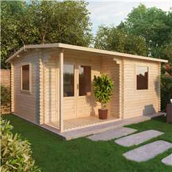 4m x 3m Deluxe Reverse Log Cabin + Porch (Single Glazing) + Free Floor & Felt & Safety Glass (44mm Tongue and Groove Logs)
