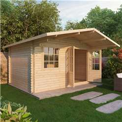 4m x 3m Deluxe Log Cabin + Canopy (Double Glazing) + Free Floor & Felt & Safety Glass (44mm Tongue and Groove Logs)