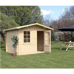 3m x 2.4m Deluxe Apex Log Cabin (Double Glazing)  + Free Floor & Felt & Safety Glass (34mm Tongue and Groove Logs)