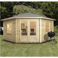 4m x 4m Deluxe Corner Log Cabin (Single Glazing) + Free Floor & Felt & Safety Glass (34mm Tongue and Groove Logs)