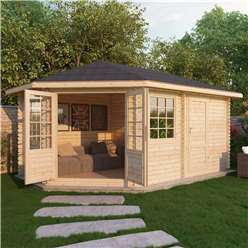 5m x 3m Deluxe Plus Corner Log Cabin (Single Glazing) + Free Floor & Felt & Safety Glass (34mm Tongue and Groove Logs) **Left
