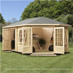 5m x 3m Deluxe Plus Corner Log Cabin (Double Glazing) + Free Floor & Felt & Safety Glass (34mm Tongue and Groove Logs) **Right