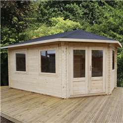 5m x 3m Deluxe Grande Corner Log Cabin (Double Glazing) + Free Floor & Felt & Safety Glass (44mm Tongue and Groove Logs) **Right