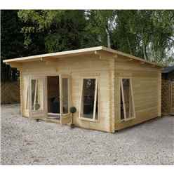 5.2m x 4.2m Deluxe Pent Log Cabin + Free Floor & Felt & Safety Glass (34mm Tongue and Groove) - Double Glazing