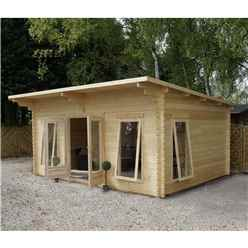5.2m x 4.2m Deluxe Pent Log Cabin With Free Felt + Free Floor & Felt & Safety Glass (44mm Tongue and Groove) - Single Glazing