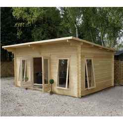 5.2m x 4.2m Deluxe Pent Log Cabin + Free Floor & Felt & Safety Glass (44mm Tongue and Groove) - Double Glazing