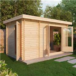 4m x 2.5m Deluxe Pent Style Log Cabin (Double Glazing) + Free Floor & Felt & Safety Glass (28mm Tongue and Groove Logs)