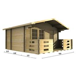 4m x 3m Deluxe Apex Log Cabin - Double Glazing - 44mm Wall Thickness (2045)