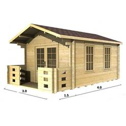 3m x 4m Deluxe Apex Log Cabin - Double Glazing - 70mm Wall Thickness (2016)