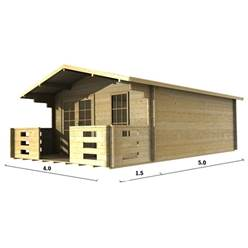 4m x 5m Deluxe Apex Log Cabin - Double Glazing - 44mm Wall Thickness (2047)