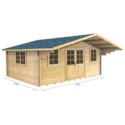 5m x 4m Deluxe Apex Log Cabin - Double Glazing - 44mm Wall Thickness (2109)