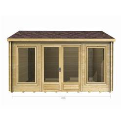 4.5m x 3.5m Deluxe Reverse Apex Log Cabin - Double Glazing - 70mm Wall Thickness (2076)