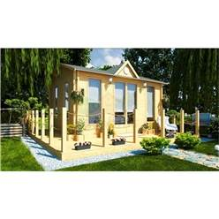 5m x 4m Deluxe Reverse Apex Log Cabin - Double Glazing - 44mm Wall Thickness (2140)