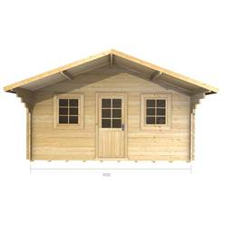 4m x 4m Deluxe Apex + Canopy Log Cabin - Double Glazing - 44mm Wall Thickness (2073)