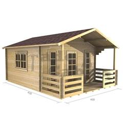 4m x 3m Apex Log Cabin - Double Glazing - 70mm Wall Thickness (2057)