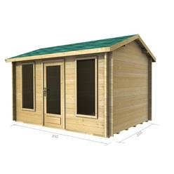 3.5m x 2.5m Deluxe Reverse Apex Log Cabin - Double Glazing - 44mm Wall Thickness (2038)