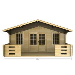 5m x 3m Deluxe Apex Log Cabin - Double Glazing - 70mm Wall Thickness (2087)