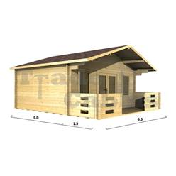5m x 5m Deluxe Apex Log Cabin - Double Glazing - 70mm Wall Thickness (2094)