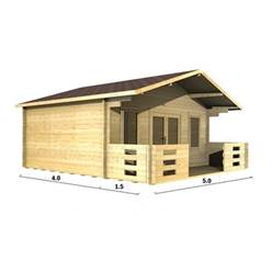 5m x 4m Deluxe Apex Log Cabin - Double Glazing - 44mm Wall Thickness (2092)