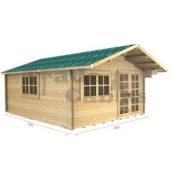 4m x 5m Deluxe Apex Log Cabin - Double Glazing - 44mm Wall Thickness (2061)