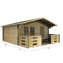 4m x 4m Deluxe Apex Log Cabin - Double Glazing - 70mm Wall Thickness (2046)