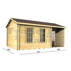 5m x 3m Deluxe Reverse Apex Log Cabin - Double Glazing - 44mm Wall Thickness (2090)