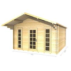 4m x 4m Deluxe Apex Log Cabin - Double Glazing - 44mm Wall Thickness (2051)
