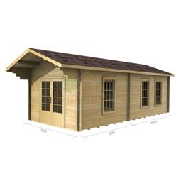 3m x 7m Deluxe Reverse Apex Log Cabin - Double Glazing - 44mm Wall Thickness (2018)