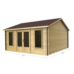 4.5m x 4.5m Deluxe Reverse Apex Log Cabin - Double Glazing - 44mm Wall Thickness (2077)