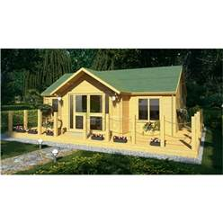 7.0m x 5.0m Reverse Apex Log Cabin - Double Glazing - 70mm Wall Thickness (4120)