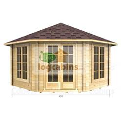 4.5m x 4.5m Octagonal Log Cabin - Double Glazing - 44mm Wall Thickness (2082)
