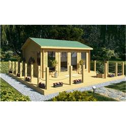 4.5m x 3.5m Reverse Apex Log Cabin - Double Glazing - 70mm Wall Thickness (2075)