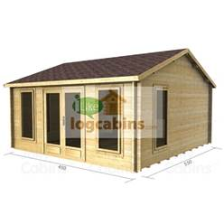 4.5m x 4.5m Reverse Apex Log Cabin - Double Glazing - 70mm Wall Thickness (2078)