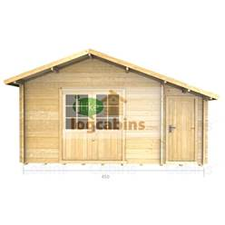 4.5m x 3.5m Deluxe Apex Log Cabin - Double Glazing - 70mm Wall Thickness (2080)