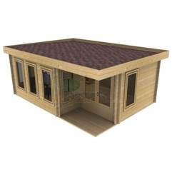 6m x 5m Deluxe Pent Log Cabin - Double Glazing - 44mm Wall Thickness (4617)