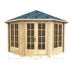 3.5m x 3.5m Deluxe Octagonal Log Cabin - Double Glazing - 70mm Wall Thickness (2043)