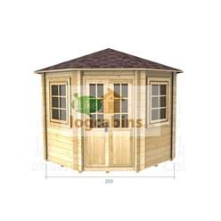 2.5m x 2.5m Deluxe Octagonal Log Cabin - Double Glazing - 44mm Wall Thickness (2036)