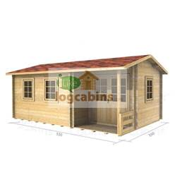 5.5m x 3.5m Deluxe Reverse Apex Log Cabin - Double Glazing - 70mm Wall Thickness (2114)