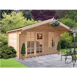 3.59m x 2.39m Superior Apex Log Cabin + Double Fully Glazed Doors - 44mm Tongue and Groove Logs