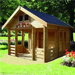 3.89m x 4.49m HIGH GRADE ROCKINGHAM APEX LOG CABIN - 44MM TONGUE AND GROOVE LOGS
