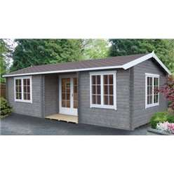 5.9m x 3.85m ELVEDEN APEX LOG CABIN - 44MM TONGUE AND GROOVE LOGS