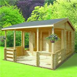 3.89m x 3.69m GUISBOROUGH APEX LOG CABIN - 44MM TONGUE AND GROOVE LOGS