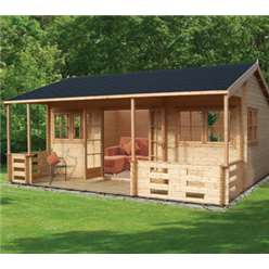 5.39m x 5.9m KINGSWOOD LOG CABIN  - 44MM TONGUE AND GROOVE LOGS