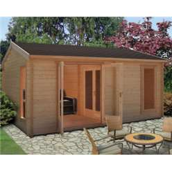 3.88m x 5.27m FIRESTONE APEX LOG CABIN - 34MM TONGUE AND GROOVE LOGS