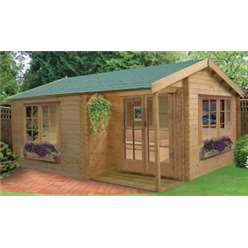 4.19m x 4.49m TWYFORD APEX LOG CABIN - 44MM TONGUE AND GROOVE LOGS