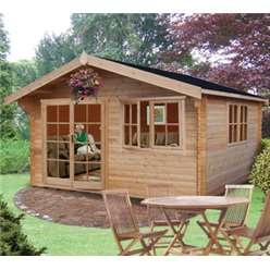 4.19m x 3.59m ABBEYFORD APEX LOG CABIN - 44MM TONGUE AND GROOVE LOGS